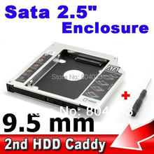 "5x 2nd Caddy Bay SATA to Sata 3.0 HDD 9.5MM Case 2.5"" Hard Disk Driver SSD External Enclosure Box CD DVD Optical Laptop Notebook"
