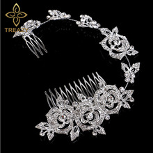 TREAZY New CZ Rhinestone Princess Wedding Tiara Austrian Crystal Rose Flower Bridal Long Handmade Hair Comb Accessories