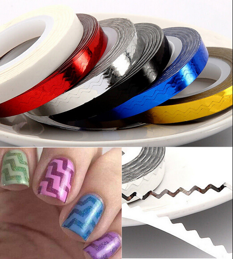 Rolls Stripping Tape Waves Line Strips Decor Decals Wraps Tools Gold Silver Nail Art Sticker Roll Beauty NA945<br><br>Aliexpress