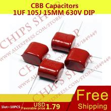1LOT=10PCS CBB Capacitors 1uF 105J 15MM 630V DIP 1000nF 1000000pF