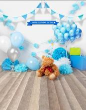 Blue Flag Balloon Teddy Bear Wood Floor photo studio background Vinyl cloth High quality Computer print birthday backdrops(China)