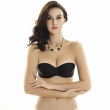 Sexy Strapless Bra Black Beige Seamless Invisible Bralette Push Up 1/2 Cup Women Girl Underwear 3 Hooks 32B 34B 36B 38B  X5