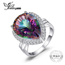 JewelryPalace Huge 15ct Genuine Rainbow Fire Mystic Topaz Ring Pure 925 Sterling Silver Brand Fashion GemStone Jewelry For Women
