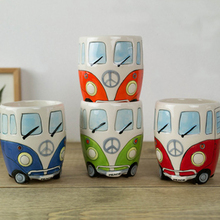 2017 Creative Cartoon Double Decker Bus Mugs Hand Painting Retro Ceramic Cup Coffee Milk Tea Mug Drinkware Novetly Gifts,1 Piece