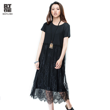 Outline Black Casual Long Dress Women Loose Solid Cotton O-neck Short Sleeve Lace Patchwork Summer Plus Size Party DressL162Y034