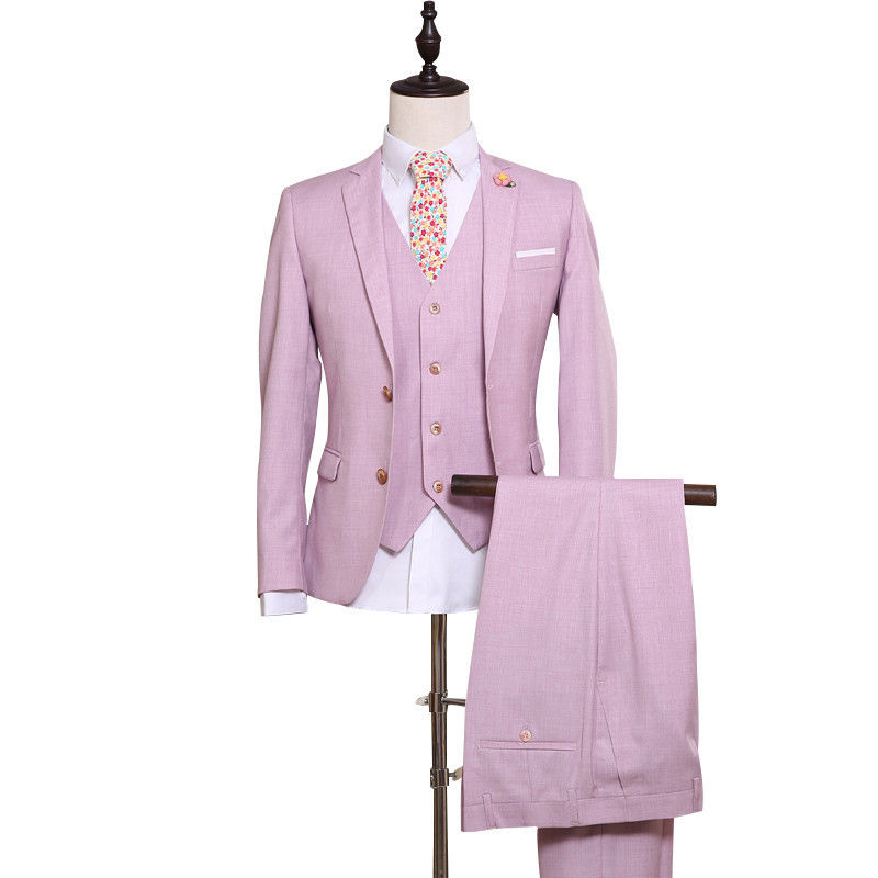 20-1 Men\'s Pink Groom Wedding Suit Custom Made 2018 Fashion Single Breasted Men Suits