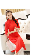 Fashion modern improved Ao dai Asian apparel qipao dress lace pants set for girls