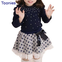 2Pcs Girl Skirts Suit Spring Autumn Children Clothing Sets New Pearl Wave Design Girl's Suits Princess Bow Clothes Costumes Cute(China)