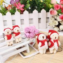 3Pcs/set Cute Teddy Bear Plush Doll Children Soft Earring Mini Bear Plush Toy Christmas Gift For Children Of The Bag Key Chain