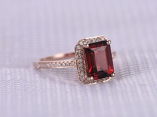 MYRAY 6x8mm Emerald Cut Natural Red Garnet Gemstone Ring Vintage Antique Party Ring Engagement Wedding Women Men Rings Rose Gold
