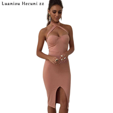Sexy Womens Bandage Dress Elegant Women Halter Pink/Black Front Split Evening Party Bodycon Dresses Strapless Club Vestidos C039