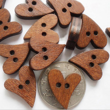 Novelty 100 PCS/set Brown Wood Wooden Sewing Heart Shape Button Buttons Craft Scrapbooking 20mm for Garment Accessories 1NFN(China)
