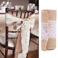 Buy Beautiful Jute Burlap Lace Naturally Elegant Burlap Chair Sashes Chair Tie Bow Rustic Wedding Party Decoration 15*240cm for $3.84 in AliExpress store