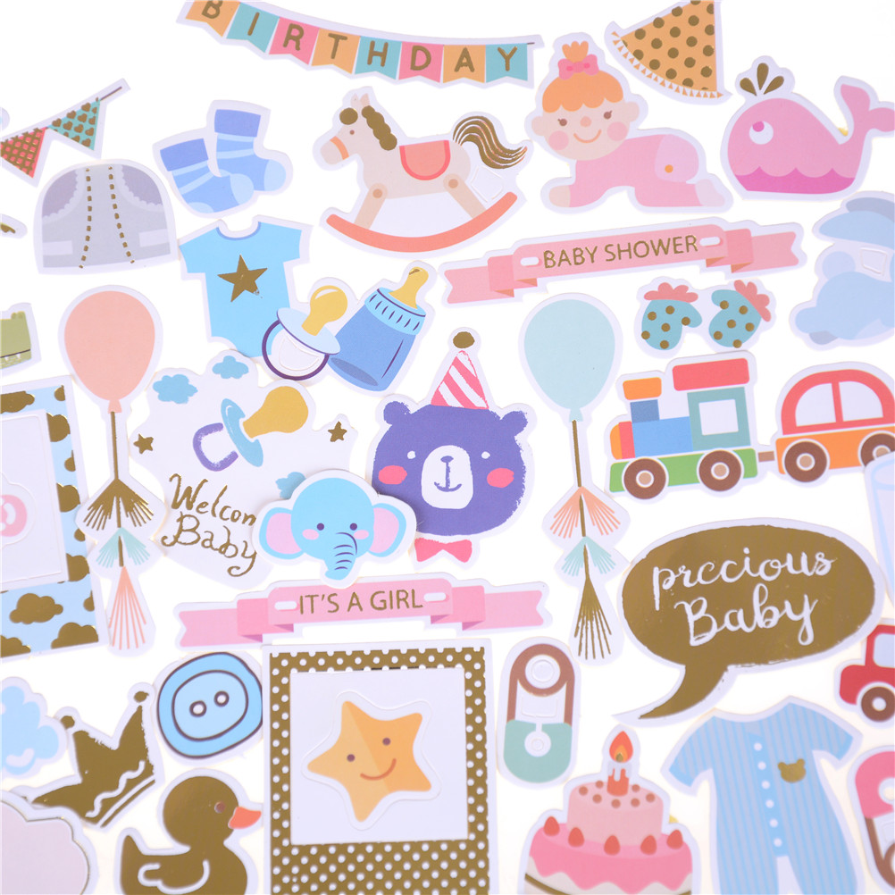73pcs cute colorful Hello Baby Die Cuts Stickers for Scrapbooking Happy Planner/Card Making/Journaling Project