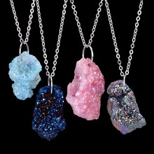 Irregular Natural Stone Quartz Crystal Pendants Necklace Drusy Druzy Silver Color Chain Statement Necklace for Women