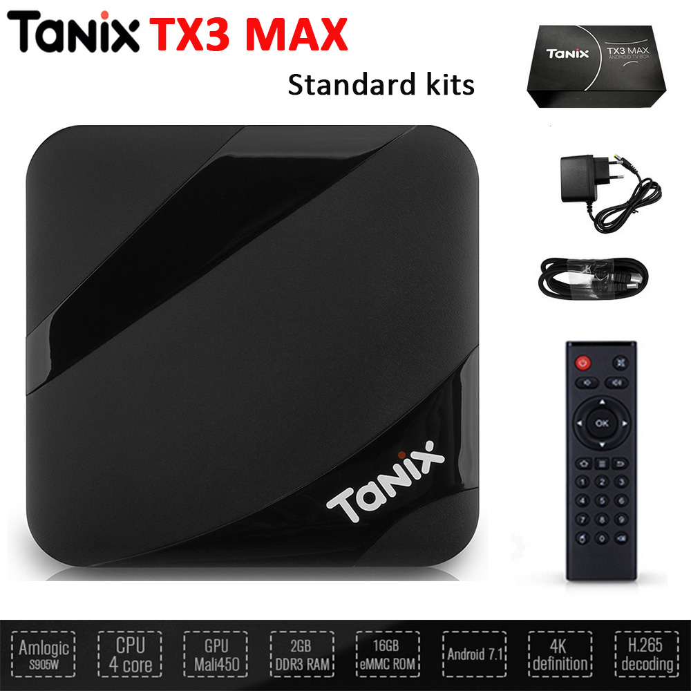 Tanix TX3 Max Android 7.1 Smart TV Box Amlogic S905W HDMI H.265 4K 2GB+16GB Bluetooth Set-top Box Media Player PK TX3 Mini