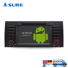 A-Sure Android 5.1 DAB+ GPS Radio 2 Din Navi Stereo for BMW X5 E39 E53 E38 5 Series Navigation DVD Player 1024*600 WiFi