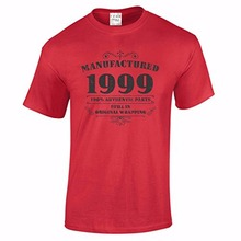 Men's 18th Birthday T Shirt Manufactured 1999 T Shirts 18th Birthday Gifts Short Sleeve O-Neck Cotton Tshirt