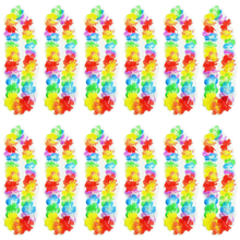 12pcs/set Hawaiian Flower Leis Garland Necklace Fancy Dress Party Hawaii Beach Fun Flowers DIY Party Beach Decoration