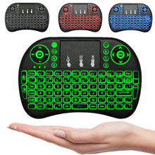 10pcs Mini i8 Wireless Keyboard 3 color backlit 2.4GHz English Russian Remote Control Touchpad For Android TV Box Tablet PC DHL(China)