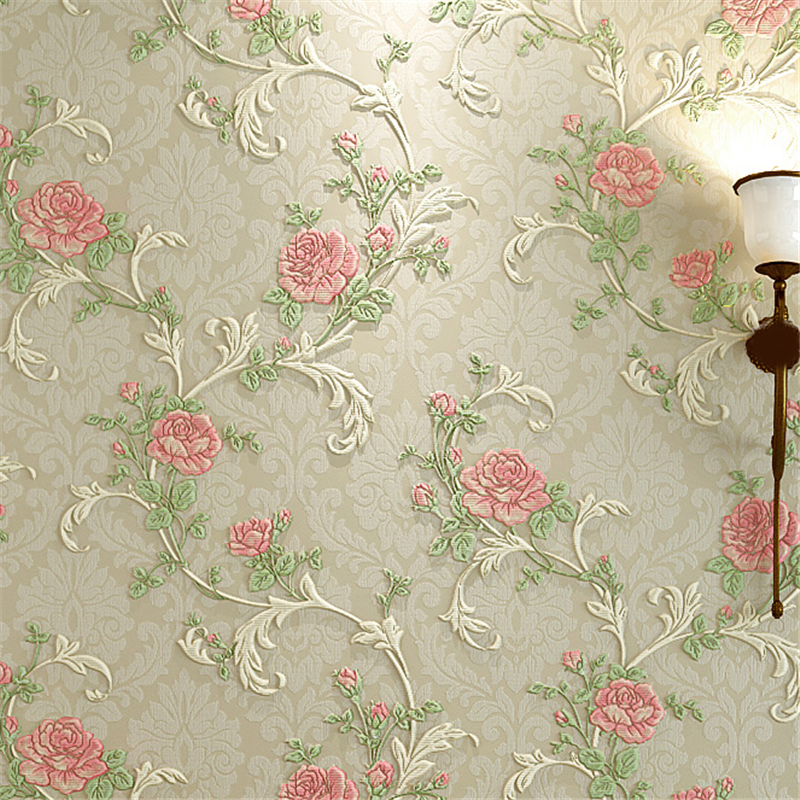 beibehang 3D three-dimensional relief of rural non-woven wallpaper thick wedding living room warm roses full of flowers wallp<br>