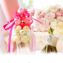 Hot Sale Wedding Ornaments Silk Bridal Bridesmaid Handmade Bouquet Hand Flowers Wrist Corsages 5Color 1pcs(China)