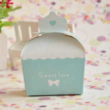 100pcs/lot Sweet Love Candy Box Creative Small Wedding Crown Fresh Paper Candy Box Red/Pink/Blue/Purple Party Supplies