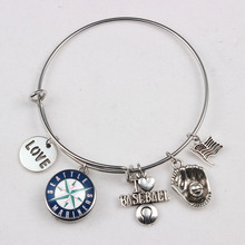 Silver Adjustable I Love Baseball Expandable Bangles Baseball Team Seattle Mariners Snap Button Charms Bracelets For Women