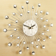 High Quality About 32.5cm Novelty Diamond Crystal Jeweled Beaded Sunburst Wall Clock Living Room Silver Wire NV1001