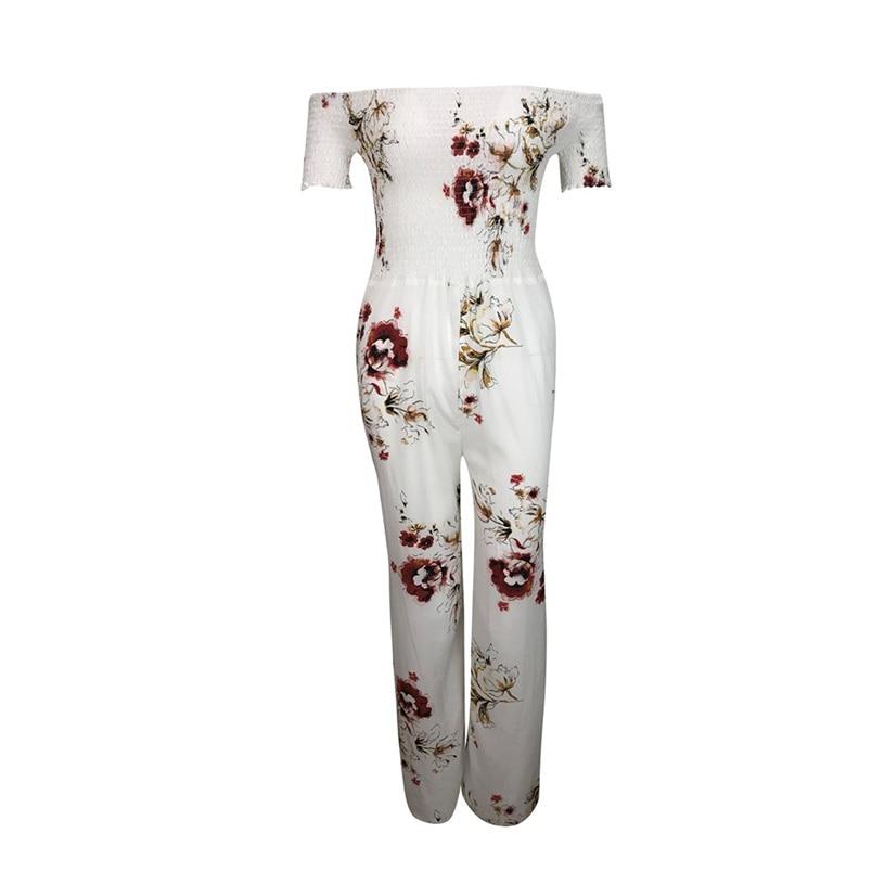 Woman Summer Jumpsuit 2018 New Elegant Off Shoulder Sexy Strapless Floral Print High Waist Jumpsuits Playsuits Wholesale #L09 (10)