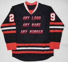 Wholesale OEM Brand Hockey Jerseys Custom Mens logo/Name/Number/Color Black/Red Supplier Team Design Tackle Twill Fabric