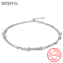 New Arrivals 925 Sterling Silver Anklet Woman Charm 3mm Beads Silver Anklet Fashion Luxury Jewelry(China)