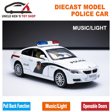 1/32 Scale Police Toy Model Car, Metal car, Diecast Models, Boy Gift Toy With Openable Doors/Pull Back Function/Music(China)