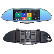 "Buy 7"" IPS Touch 3G WCDMA Car DVR Camera Video Recorder Android 5.0 GPS Navi Bluetooth FM WIFI Dual Lens Rearview Mirror Camcorder for $122.19 in AliExpress store"