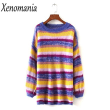 Rainbow Sweater Dress Christmas Sweater Women Sweaters And Pullovers 2017 Pullover Pull Femme Jumper Jersey Mujer Invierno Unif
