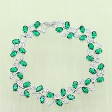 Reginababy Green created Emerald Jewelry Siver color Wedding Crystal Bracelets For Women Jewelry B1