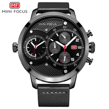 MINI FOCUS Dual Time Chronograph Quartz Watch Men Sports Watches Top Brand Luxury Big Clock Army Military Wrist Watch Male reloj(China)