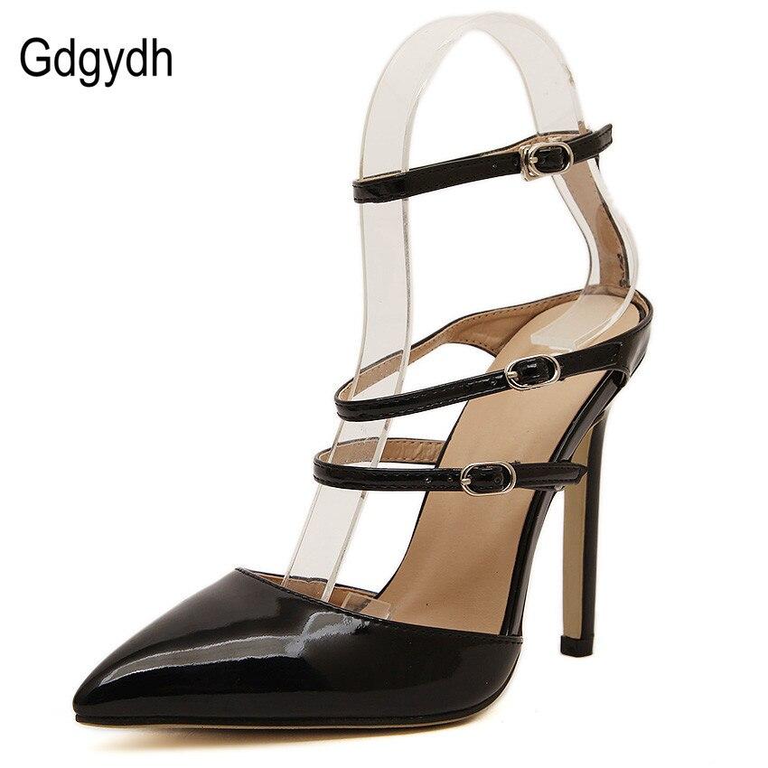 Gdgydh Fashion 2017 New Belt Pointed Toe Summer Sandals Women Sexy High Heels Summer Shoes Female Buckle Black White European<br><br>Aliexpress
