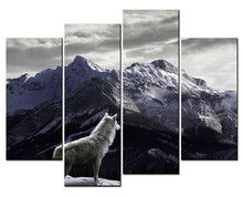 4 Panels Unframed Canvas Photo Prints White Wolf Looked At The Snow-capped Mountains Wall Art Picture Canvas Paintings Wall