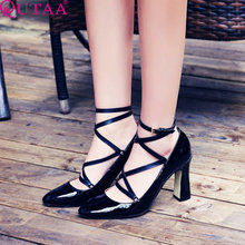 QUTAA Genuine Leather Ladies Shoes Woman Shoes Platform Woman Pump High Heel Ankle Strap Women Wedding Shoes Size 34-39