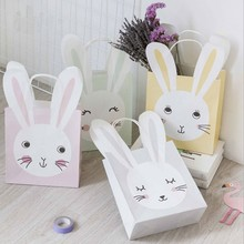3pcs/lot 21 X 18 X 8 cm Cute rabbit animal Paper bag Best Gift Bags with Sticker for Christmas Wedding Party Food Packaging bags(China)