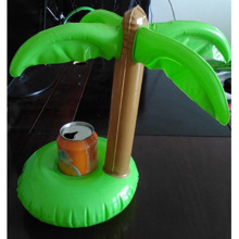Fashion Green Luau Palm Trees Inflatable Drink Can Bottle Holder Swimming Bath Party Beach Pool Kid Toys Event & Party Supplies(China)