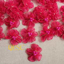 Hot pink 4cm flower patch silk flower with beads fascinator hair accessory Girl's headband hand-made flower Corsage Dress clothe