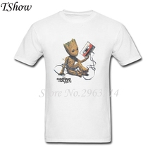 Guardians Of The Galaxy 2 Baby Groot Moods T Shirt Men O-Neck Hip Hop Tshirt TeenBoys Pure Cotton Plus Size Tee Shirt Homme(China)