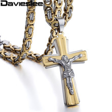 Multilayer Cross Christ Jesus Pendant Necklace for Men Silver Gold Color Stainless Steel Byzantine Chain Heavy Jewelry LKP502(China)