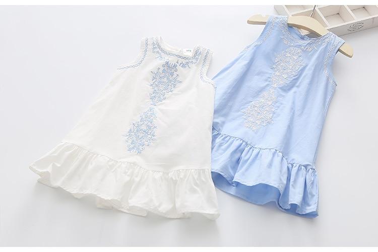 2018 Hot Summer 2-10 Years Brief Kids Lace Embroidery Flower Floral Sleeveless Flounce Vest Tank Sundress Girls Dress Cotton (11)
