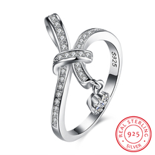 Ann & Snow Autumn Collection 925 Sterling Silver SPARKLING LOVE KNOT Weave Finger Ring For Women Engagement Fine Jewelry R136