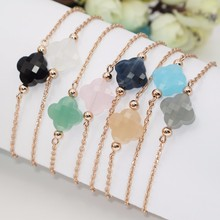 Newest Style Rose Gold Four Leaf Clover Crystal Charm Bracelet For Women 16 Colors Choose Best Price Christmas Gift