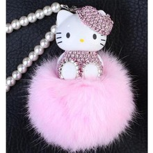 Cute Hello Kitty Keychain Monchichi sleutelhanger Pom Pom Porte Clef Bag Car Key Ring pearl Fur Ball key chain Chaveiro Gift