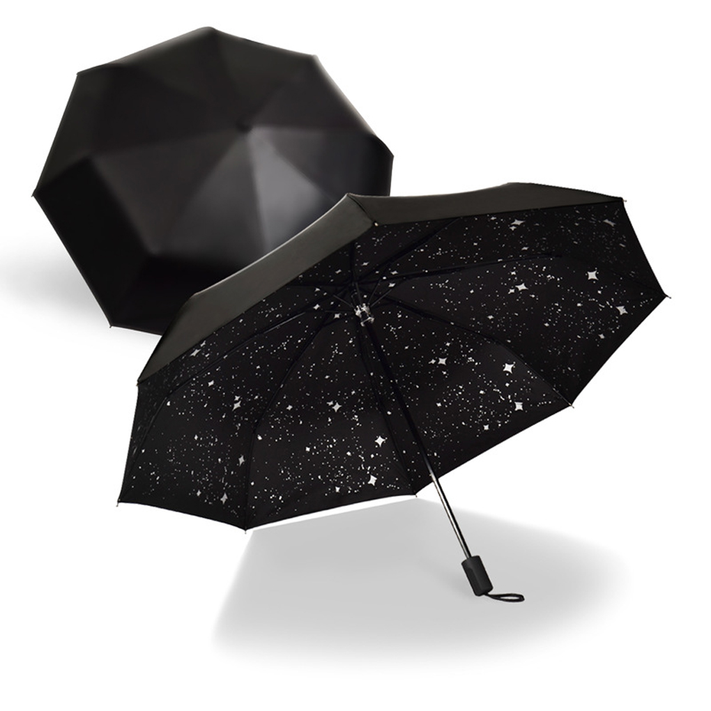 Concise Starry Sky Black Coating Windproof Anti Uv Sunrain Triple